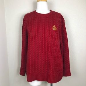 Ralph Lauren red Cable Knit crest sweater Large